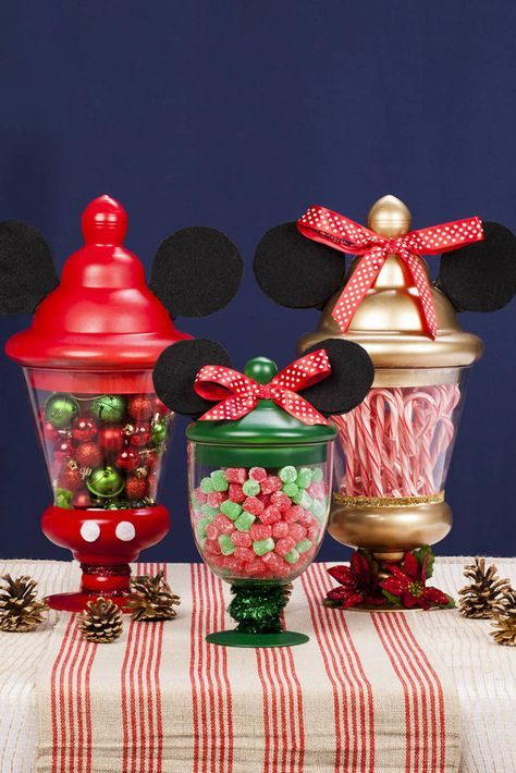 mickey minnie sweet jar centerpieces - Mickey Mouse Christmas Party Decorations