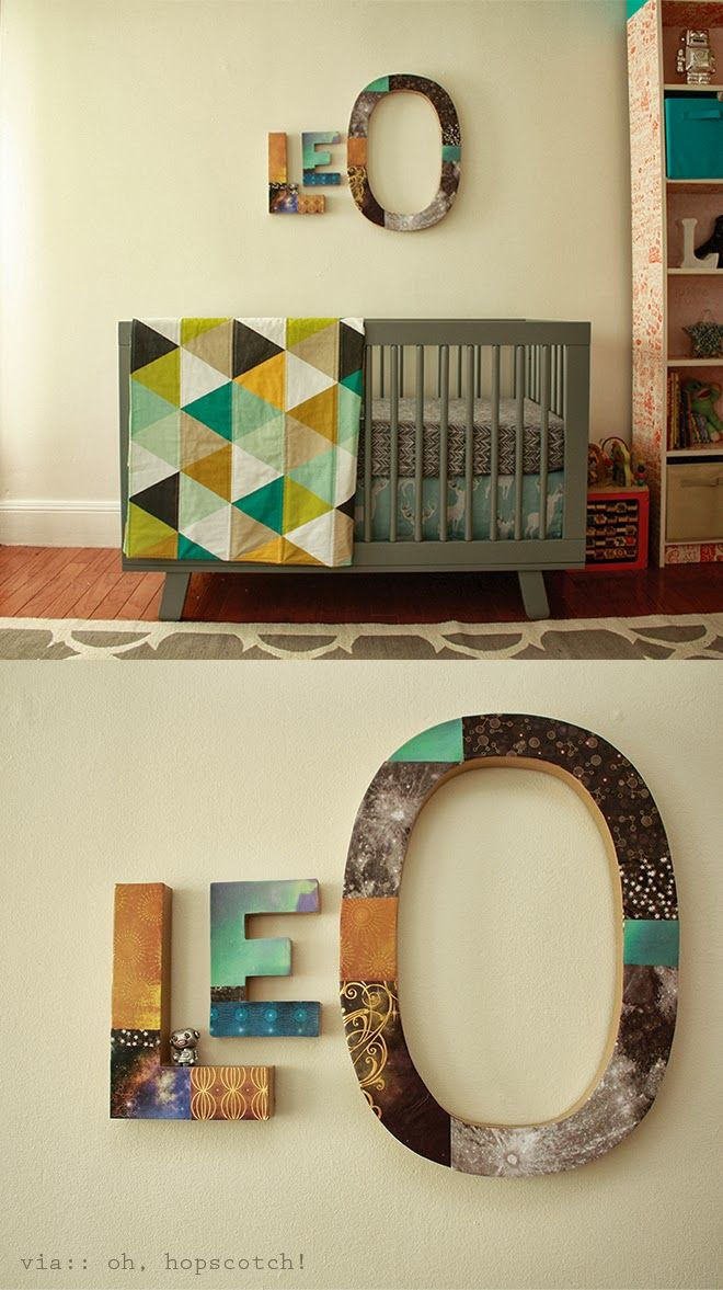 Fun hand-made name sign for a baby by Oh, Hopscotch! Also, ADORABLE bedding by IvieBaby!