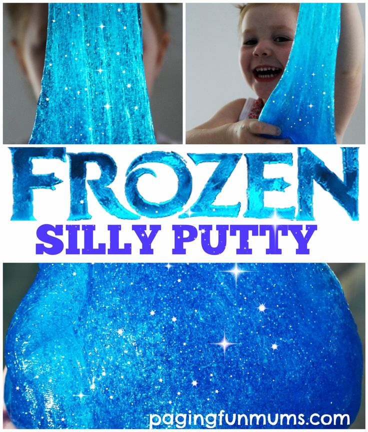 Frozen Silly Putty!  Clear School Glue, borax, hot water, silver and blue glitter, and blue food coloring @amandabde