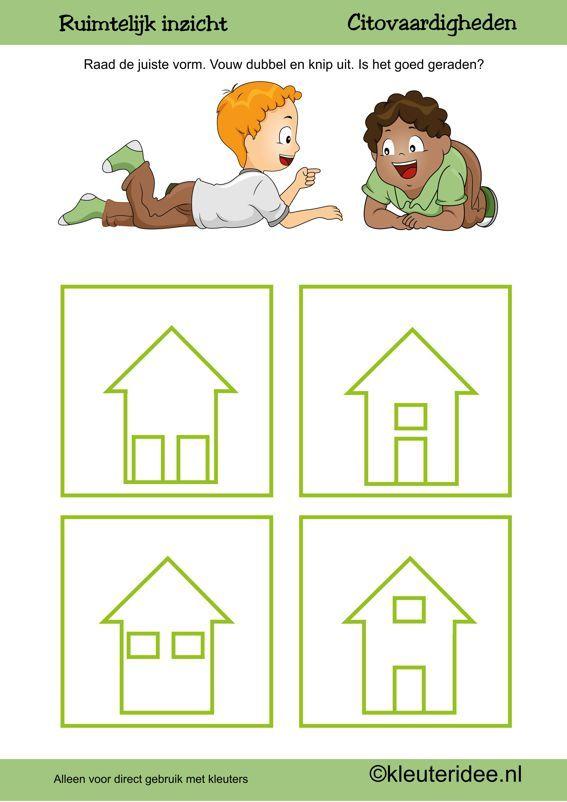 Citovaardigheden voor kleuters, kleuteridee.nl ,ruimtelijk inzicht huis , rekenen voor kleuters.