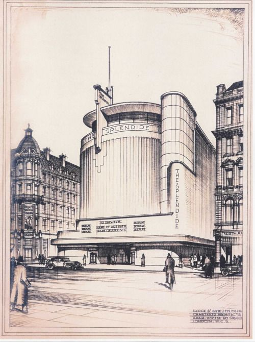 """danismm:  """"  """"Project for a Cinema"""" (Elcock & Sutcliffe). Perspective drawing c.1935.  arch.  Ralph Maynard Smith  """"  Splendide indeed."""
