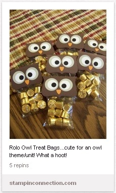 Owl treats filled with rollos. Great as goodie bags at themed party.