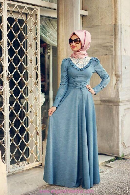 uzun kollu kot elbise tesettürde denim modası http://www.enguzeltesettur.com/ozel-tasarim-tesettur-butikler-minel-ask-giyim/