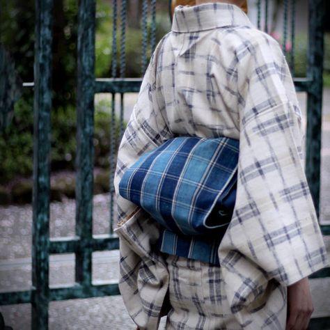浦野理一の紬にチェックの帯 #japan #tokyo #setagaya #kimono #obi #着物 #帯 #きもの #紬 #つむぎ #tsumugi #浦野理一 #uranoriichi