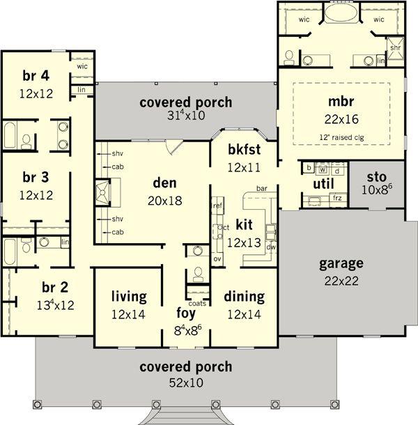 one story floor plan flip the kitchen open the space and tweak bathrooms - 4 Bedroom House Plans