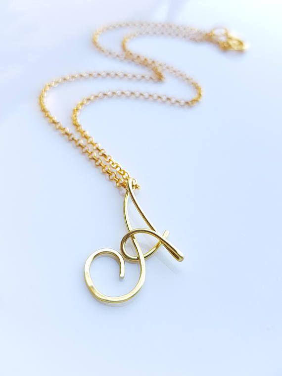 14k Gold Aquamarine March Birthstone Cursive Letter I Dog-tag Necklace