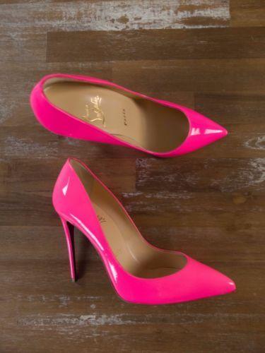 CHRISTIAN LOUBOUTIN neon pink stilettos pumps heel shoes - 7 US / 4 UK / 37 EU