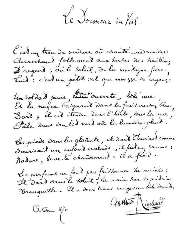 Les 48 meilleures images du tableau arthur rimbaud sur - Poesie le dormeur du val arthur rimbaud ...