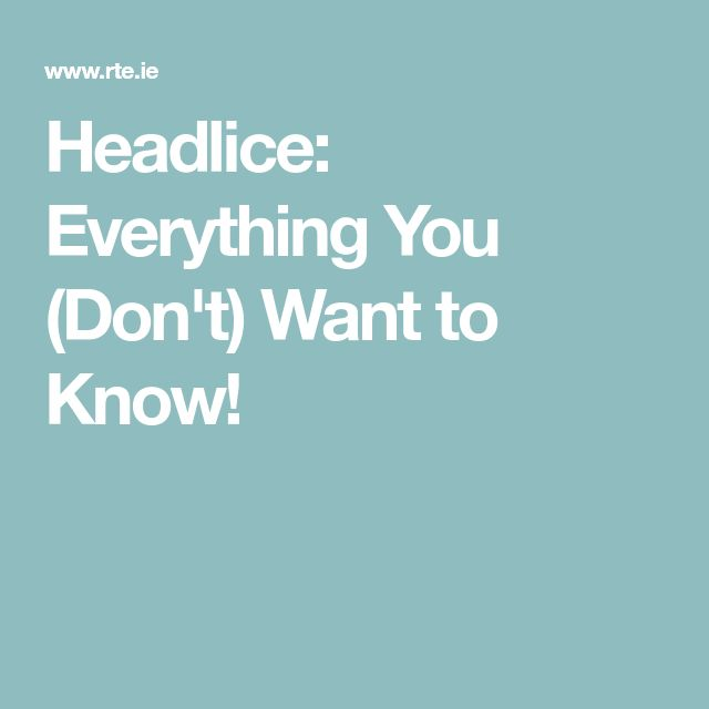 Headlice: Everything You (Don't) Want to Know!
