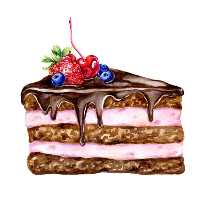 даже курсе, кусочек торта картинка рисунок делаем