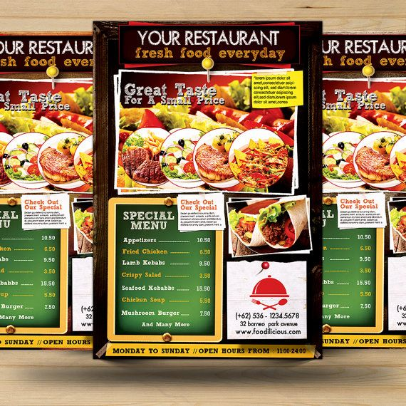 Chalkboard Style Restaurant Promotion Flyer by FionaCreatiiv, $4.00