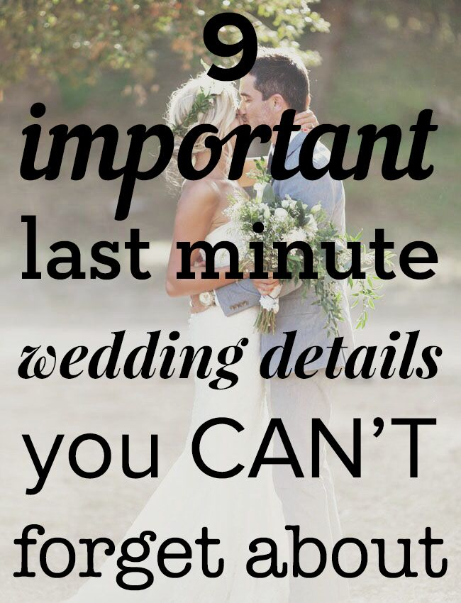 Uh oh! These are the details you don't want to miss! Pin now, read later | http://www.weddingpartyapp.com/blog/2014/08/14/last-minute-wedding-details/