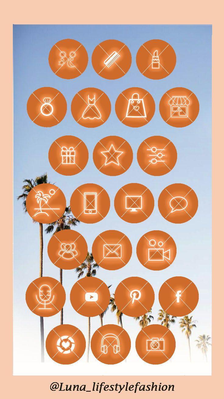 47 Orange Neon Soulful Instagram Highlight Covers Highlight Etsy In 2020 Instagram Aesthetic Festive Travel Pretty Wallpaper Iphone