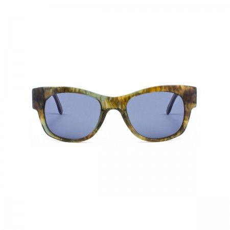 Hamilton Burger sunglasses with a forest green tortoise frame. Standard grey-blue lenses.