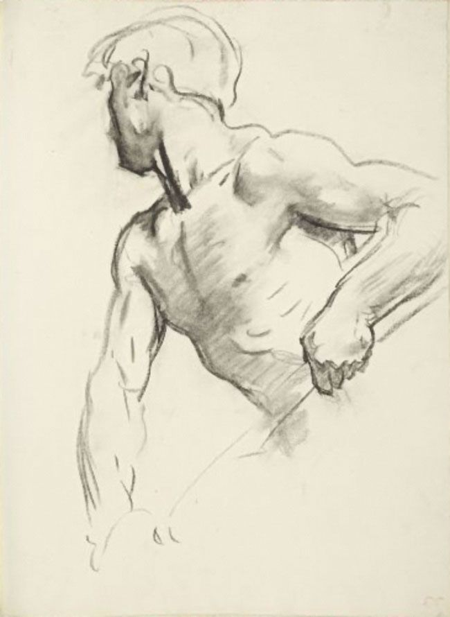 """Study for Angel at Far Left"" - John Singer Sargent (Florence, Italy 1856–1925 London), England, ""Israel and the Law,"" Boston Public Library {male torso face profile} #arthistory"