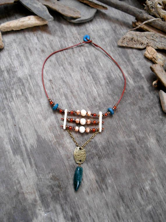 """necklace """"NATIVE AMERICAN CHOKER Inspired"""" Leather, Bone beads, Bone spacer bars, Picasso beads, Seed beads, Wood beads, Agate pendant"""