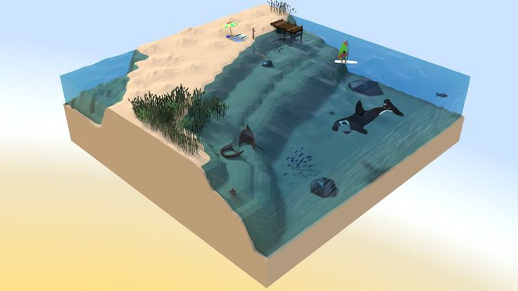 The Beach. My second low-poly isometric artwork., Klawd III on ArtStation at…