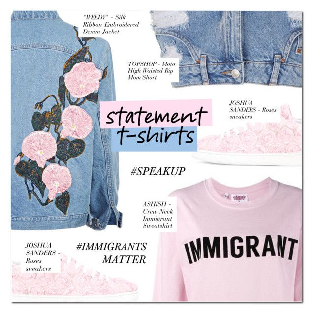 """""""SAY WHAT: STATEMENT T-SHIRT"""" by larissa-takahassi ❤ liked on Polyvore featuring Joshua's, Ashish and Topshop"""