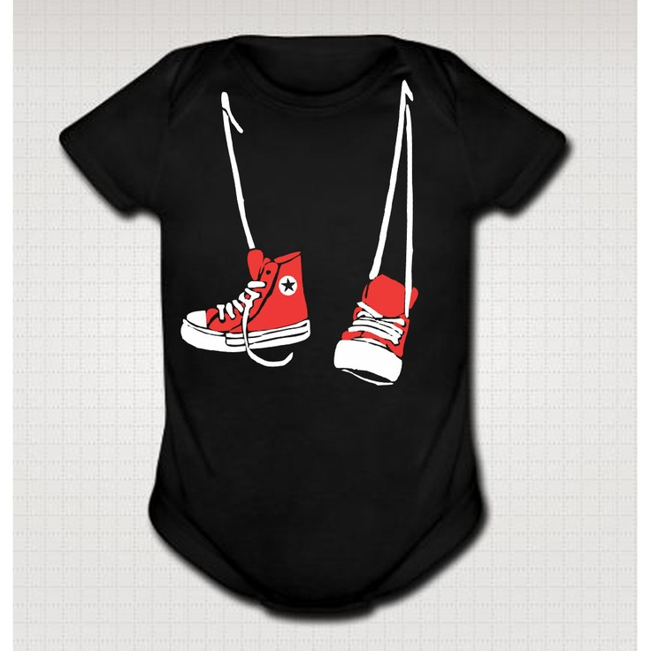SHOE NECKLACE funny baby onesies one piece bodysuit converse clothing clothes infant creeper boy girl gift One-PIECE Black 18 Month e200. $14.95, via Etsy.
