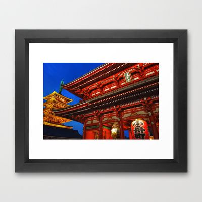 Sensouji Temple Framed Art Print by Stoneriver - $35.00  #japan #tokyo #asakusa #travel #world #sensouji #temple #colorful #dark #night #nightview #nightshot #city #cityscape  #architecture #present #framedprint #pop #popart