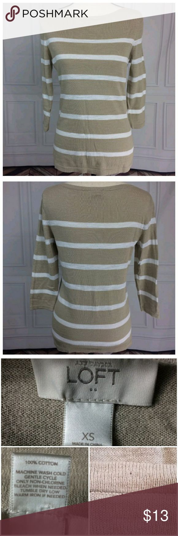 Ann Taylor Loft Factory XS Tan White Thin Sweater Ann Taylor Loft Factory XS Tan White Striped Thin Sweater  3/4 Sleeve  Pullover style  Small hole where a tag was attached. See picture. Otherwise, still in great condition!  See pictures for flaws, fabric content, cleaning instructions and measurements.  I check all items for flaws and include any in the listing. If I have missed any, it is by mistake.  Thank you for looking at my store! LOFT Sweaters