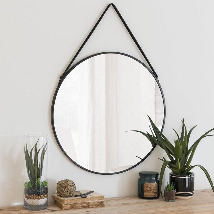 Runder Spiegel mit schwarzem Metallrahmen D.55