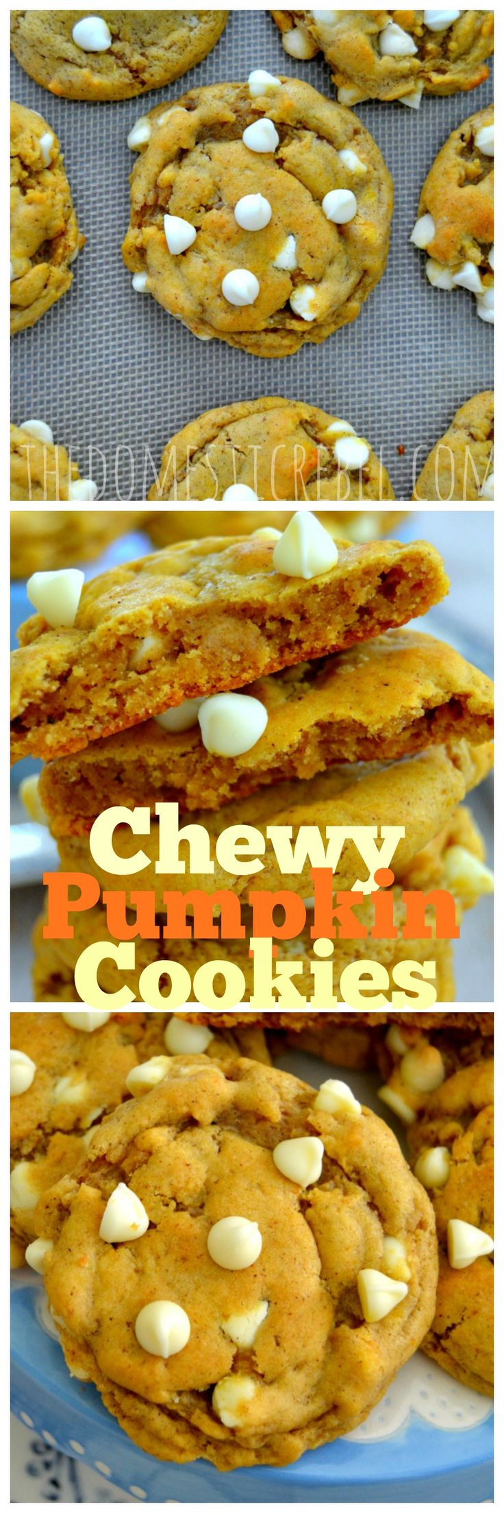 The BEST Chewy Pumpkin Chip Cookies! Soft and chewy with slightly crispy edges that are packed with real pumpkin and gooey white morsels. The perfect cookie!