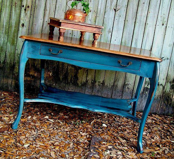 Antique Blue Painted Furniture | antique distressed blue table Antique Distressed Furniture for a Fresh ...