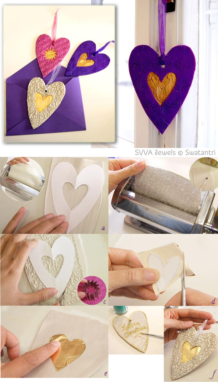 Heart-shaped Hanging decoration, made out of polymer clay & metal foil. By Astari G. Swatantri for Hopeasavi.fi. This lovely decoration could be a sweet little gift, easy to send in an envelope.