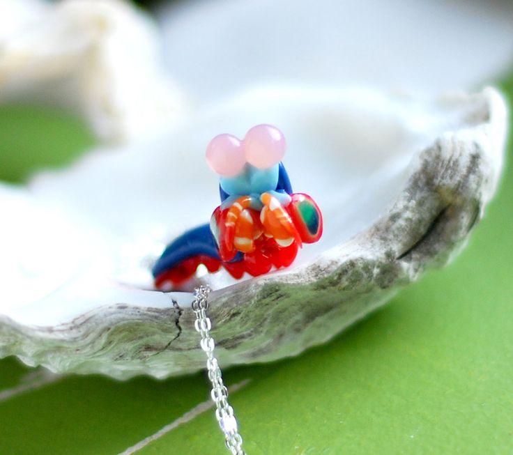 Mantis Shrimp Necklace, Stomatopoda marine biology jewelry by indolentjellyfish on Etsy https://www.etsy.com/listing/157772480/mantis-shrimp-necklace-stomatopoda