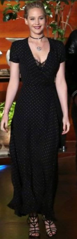 Who made Jennifer Lawrence's black polka dot dress, sandals, and jewelry?