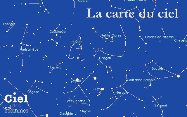 Carte du ciel interactive avec indication des constellations, de la position de…