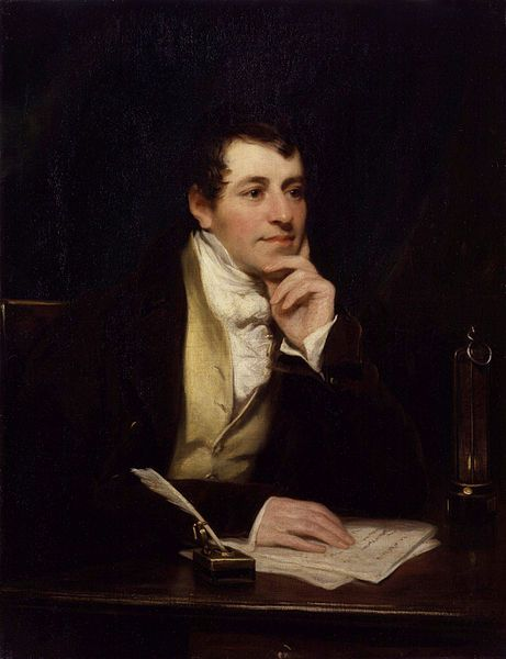 Sir Humphry Davy, Bt by Thomas Phillips - In 1809, it is said that Davy actually invented the first electric light. He connected two wires to a battery and attached a charcoal strip between the other ends of the wires. The charged carbon glowed, making the first arc lamp