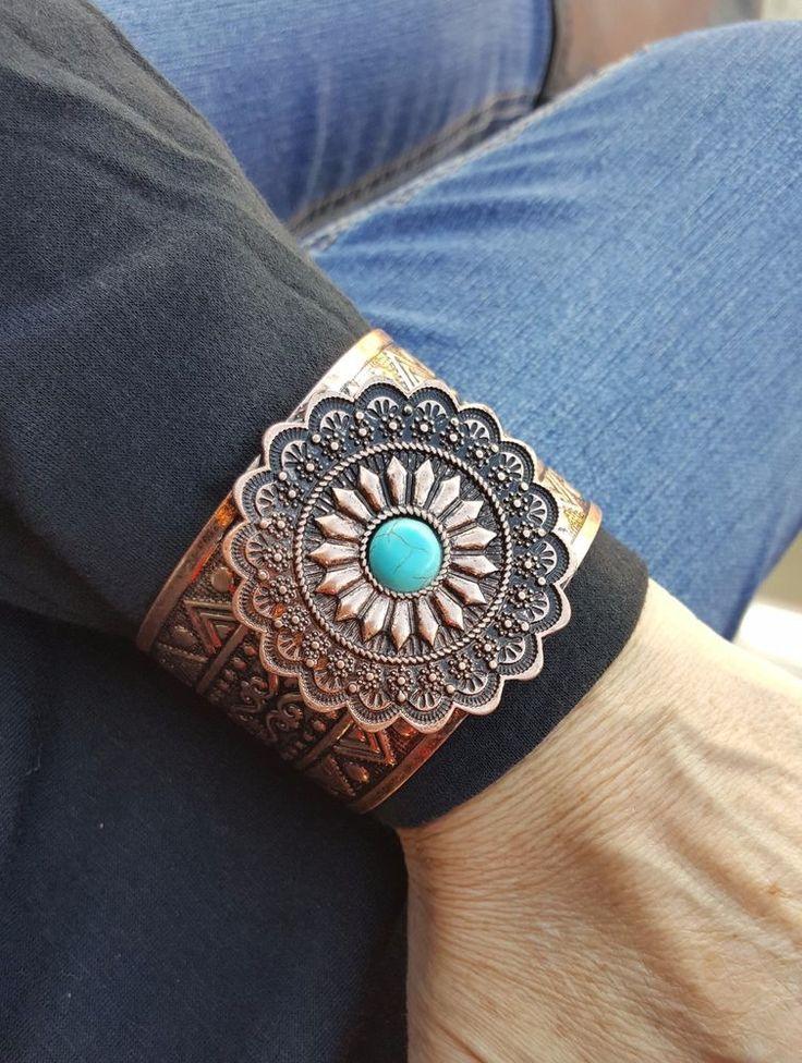 cowgirl Bling  Cuff aZTEC COPPER TONE METAL concho Gypsy Bracelet  #Unbranded #cuff