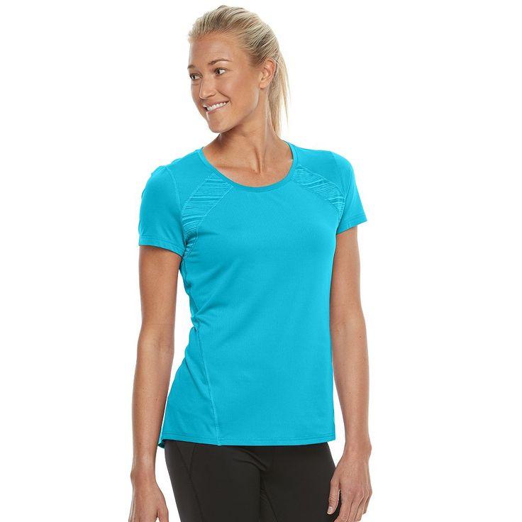 Petite Tek Gear® Performance Pieced Base Layer Tee, Women's, Size: M Petite, Turquoise/Blue (Turq/Aqua)