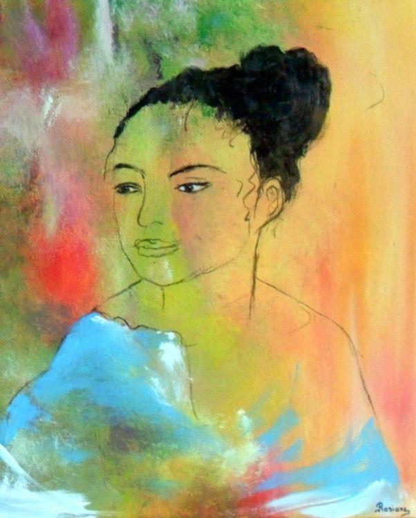 LA JEUNE FILLE AU CHIGNON - Painting,  38x46 cm ©2015 par Rosiane Priam -  Peinture