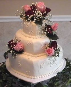 Pink Roses Heart Shaped Wedding Cake