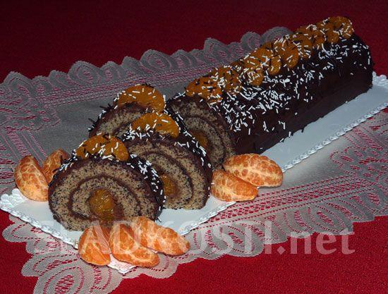 Čokoládová roláda s mandarinkami