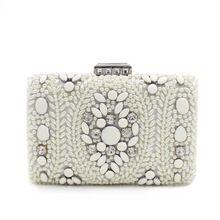 Nova jóia branco e pérola de brilhante projeto original banquete de cristal Handmade bordado bolsa / bolsa de embreagem(China (Mainland))