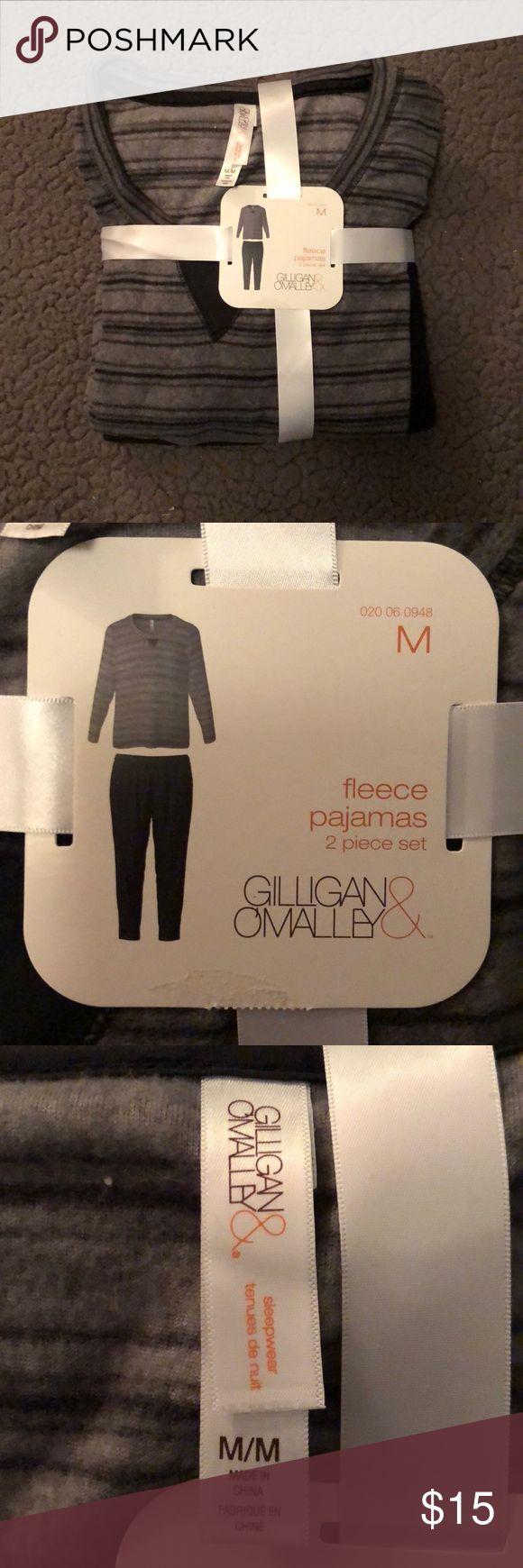 Gillian & O'Malley fleece pajamas set Size medium black fleece pajama pants and grey with black stripes fleece pajama top! They come as a set! Never worn, tags still attached! Super soft!! Gilligan & O'Malley Intimates & Sleepwear Pajamas