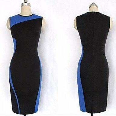 Women's Round Collar Splicing Pencil Dress