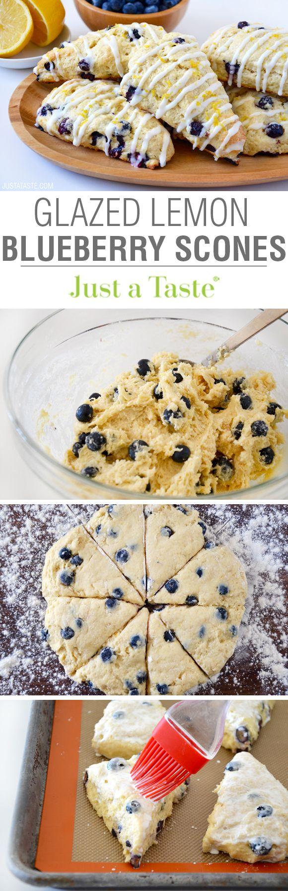 Glazed Lemon Blueberry Scones | recipe via justataste.com