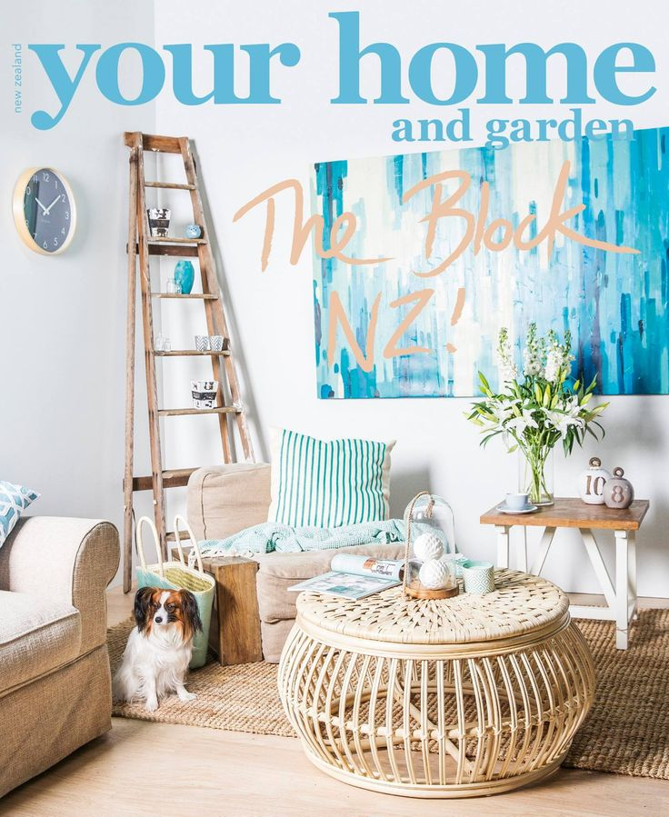 The Winner of the Your Home & Garden Magazine Challenge was Maree & James with their 'Relaxed Hamptons' Cover. The Block NZ 2014 - visit blog.curate.co.nz for links to all products  |  Mancini Side Table from French Country; Maverick's easy chair from Dawson's Furniture; Glass Cloche from Junk & Disorderly; Coffee Table, Cushions, Rug, Throw, Decorative Weight, Bowl, Sofa, Carry Bag and Ocean Painted Canvas from Freedom