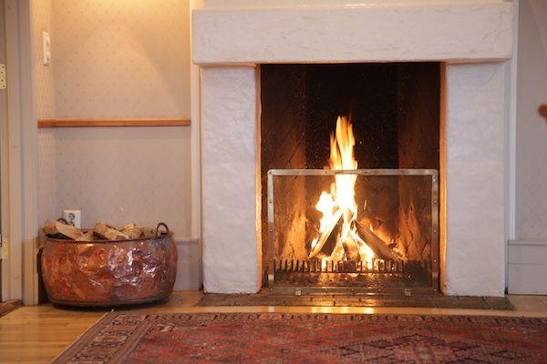 Fireplace at Lysbu hotel, Oslo, Norway