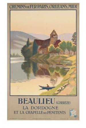 Chemins de fer de Paris-Orléans-Midi - Beaulieu (Corrèze) - La Dordogne et la Chapelle des Pénitents - 1936 - illustration de Léon Constant-Duval -