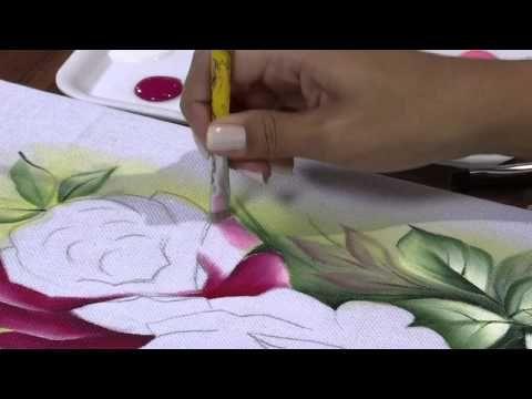 Mulher.com 25/04/2013 Ana Laura Rodrigues - Pintura em tecido rosas Parte 1