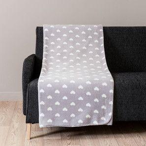 Coperta grigia in tessuto con motivo a cuori 150 x 230 cm CHALEUR