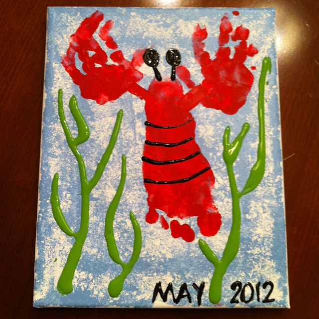 Handprint and footprint lobster for grandma on mothers day!