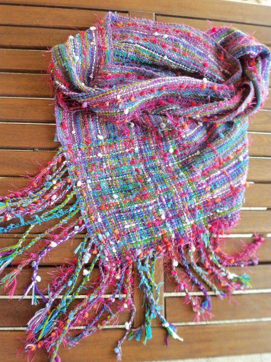 AnnaR: rigid heddle weaving, a saori möbius scarf