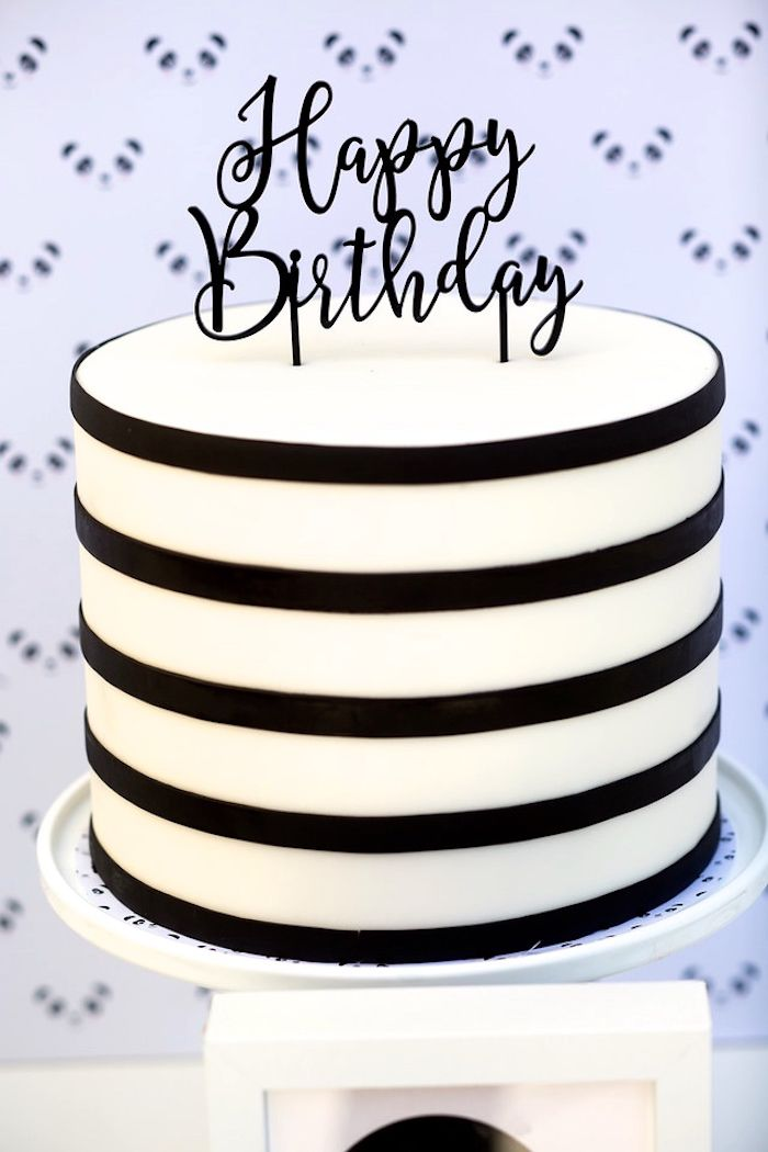 Black and white birthday cake from a chic Party Like a Panda Birthday Party at Kara's Party Ideas. See this monochromatic party and more at karaspartyideas.com!